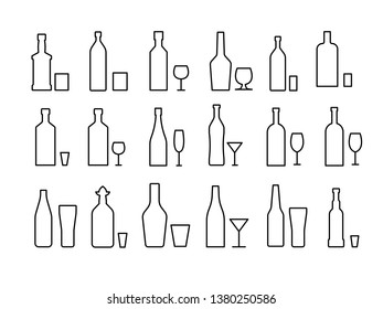 alcoholic drinks and glasses and bottles set icons black and white line art