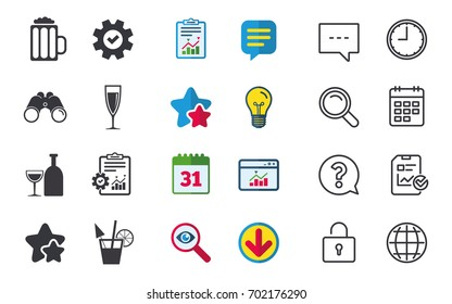 Alcoholic drinks icons. Champagne sparkling wine and beer symbols. Wine glass and cocktail signs. Chat, Report and Calendar signs. Stars, Statistics and Download icons. Question, Clock and Globe