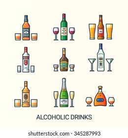 Alcoholic drinks icons in flat line trendy style. Cups for different drinks. Line art. Whiskey, wine, beer and vodka. Liquor, vermouth and rum. Champagne and cognac.