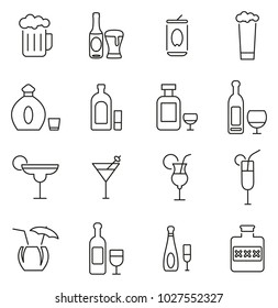 Alcoholic Drinks Icons Thin Line Vector Illustration Set