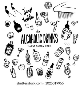 Alcoholic Drinks Illustration Pack