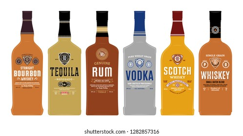 Alcoholic drinks labels and bottle mockup templates. Whiskey, scotch whisky, bourbon, rum, vodka and tequila labels. Distilling business branding and identity design elements.