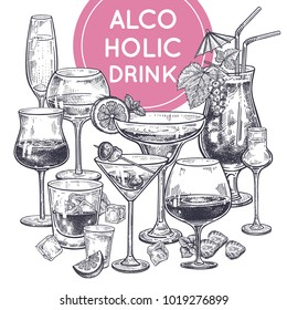 Alcoholic drinks poster. Glass of champagne, margarita, brandy, whiskey with ice, cocktail, wine, vodka, tequila and cognac. Black and white vintage engraving. Hand drawing poster. Vector illustration