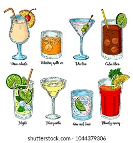 Alcoholic drinks set. Set of isolated colorful sketch cocktails. vector illustration. Margarita, whiskey, tequila. Mojito, bloody mary and cuba libre.