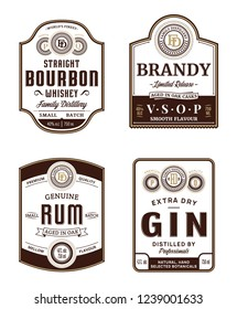 Alcoholic drinks vintage labels and packaging design templates. Bourbon, brandy, rum and gin labels. Distilling business branding and identity design elements.