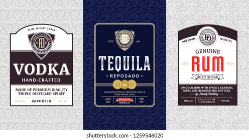 Alcoholic drinks vintage labels and packaging design templates. Vodka, tequila and rum labels. Distilling business branding and identity design elements.