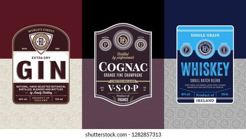 Alcoholic drinks vintage labels and packaging design templates. Gin, cognac and whiskey labels. Distilling business branding and identity design elements.