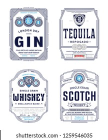 Alcoholic drinks vintage thin line labels and packaging design templates. Gin, tequila, whiskey and scotch labels. Distilling business branding and identity design elements.