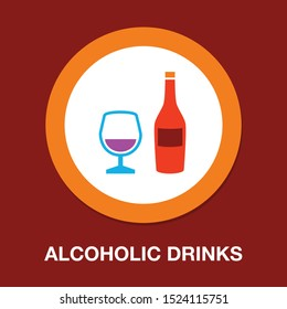 alcoholic drinks, wine alcohol bottle, wine or cocktail illustration - bar sign