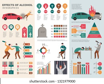 Alcoholism infographics. Dangerous drunk driver alcoholic health vector template with graphics and charts