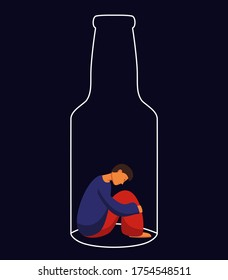 Alcoholism metaphor flat vector illustration. Sad man sit in a bottle cartoon characters. Alcohol beverages abuse, liquor dependence. Social problem, bad habit, alcohol addiction.