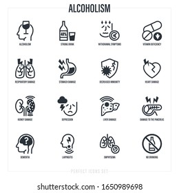 Alcoholism thin line icons set. Strong drink, withdrawal symptoms, vitamin deficiency, decreased immunity, internal organs damage, depression, dementia, emphysema. Vector illustration.