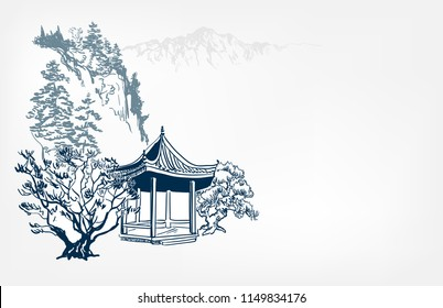 alcove view landscape card vector sketch illustration japanese chinese oriental line art