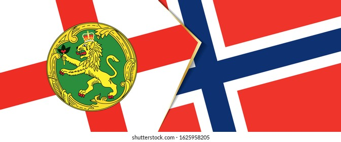 Alderney and Norway flags, two vector flags symbol of relationship or confrontation.