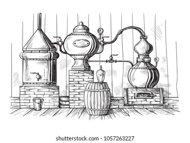 alembic still for making alcohol inside distillery, destilling spirits sketch