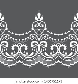 Alencon French seamless lace vector pattern, openwork ornament textile or embroidery design in white on gray background. Embroidery decoration inspired by French vintage lace art - wedding
