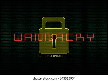 Alert malware ransomware ransomware wannacry virus lock screen vector illustration.