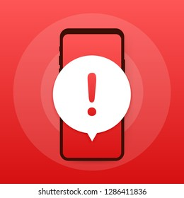 Alert message mobile notification. Danger error alerts, smartphone virus problem or insecure messaging spam problems notifications. Vector stock illustration.