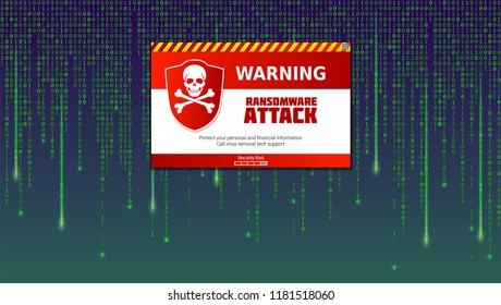 Alert message of virus detected. Ransomware attack, identifying computer virus inside binary code of matrix. Template for concept of security, programming and hacking, decryption and encryption.