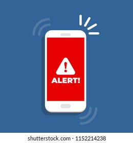 Alert notification with exclamation sign on the smartphone screen. Important reminder.
