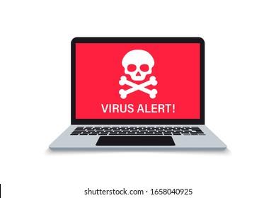 Alert notification on laptop computer, malware concept, a virus, spam, malicious application or hacking a laptop. Malware notification. Warning virus alert alarm on screen. Envelope malware message