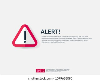 alert sign banner. attention warning with exclamation mark symbol. concept for danger on Internet, technology, VPN Security protection. Background vector illustration.