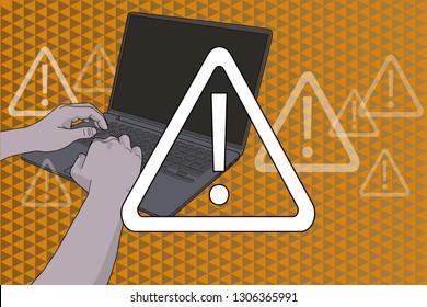 Alert sign over hands on keyboard