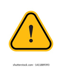 Alert sign vector icon, warning and exclamation symbol. Yellow rounded triangle and exclamation mark.