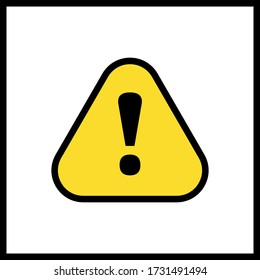 Alert sign vector icon, warning and exclamation symbol. Triangle with rounded borders and exclamation mark.