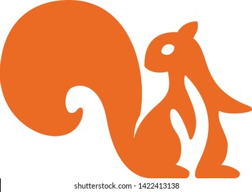 Alert squirrel flat icon isolated in orange. Clean style.