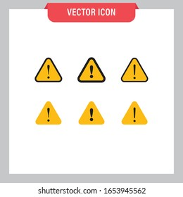Alert warning vector icon set. Attention symbol collection.