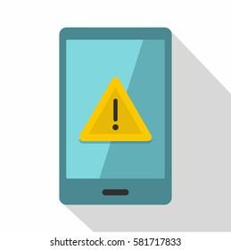Alert working mobile phone icon. Flat illustration of alert working mobile phone vector icon for web