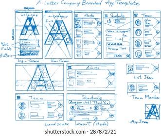 A-Letter Branded Corporate Internal Mobile App Vector Mockup Sketch