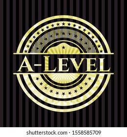 A-Level gold badge. Vector Illustration. Detailed.