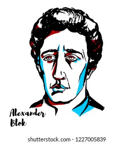 Alexander Blok engraved vector portrait with ink contours. Russian lyrical poet.