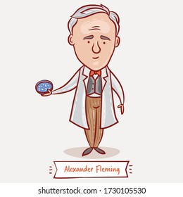 Alexander Fleming vector cartoon illustration. Scottish biologist, physician, microbiologist, and pharmacologist.  Famous people who changed the world.