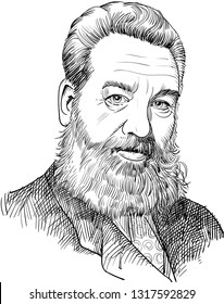 Alexander Graham Bell (1847-1922) portrait in line art illustration. He was  Scottish scientist and inventor who invented the first working telephone and founding the Bell Telephone Company.