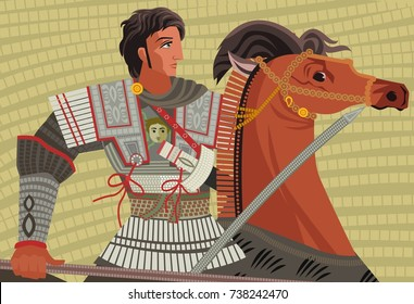 alexander the great mosaic riding a horse