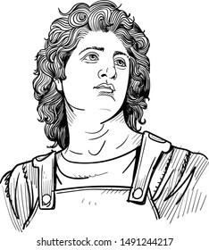 Alexander The Great portrait in line art illustration.