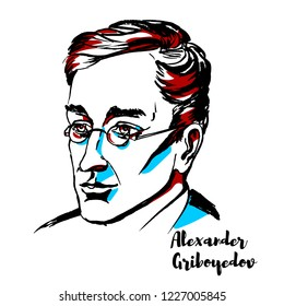 Alexander Griboyedov engraved vector portrait with ink contours. Russian diplomat, playwright, poet, and composer.