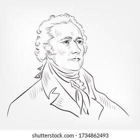 Alexander Hamilton famous American  statesman, politician, legal scholar, military commander, lawyer, banker, and economist vector sketch portrait