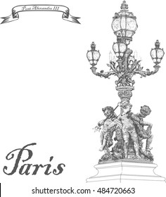 Alexander III Bridge. Lantern vintage. Paris. France. Vector illustration in style antique engravings done by hand. Isolated on white