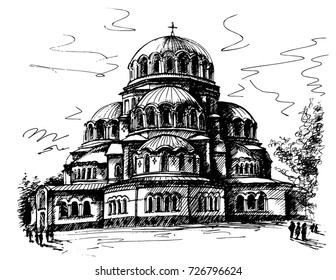 Alexander Nevsky Cathedral in Sofia, Bulgaria. A drawing drawn by hand with a black handle, a traced image of a building.