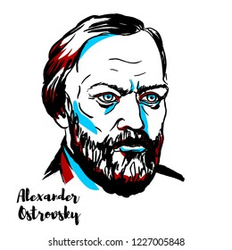 Alexander Ostrovsky engraved vector portrait with ink contours. Russian playwright, generally considered the greatest representative of the Russian realistic period.