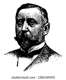 Alexander T. Brown, 1854-1929, he was an engineer, businessman, inventor of the smith premier typewriter, and one of the founders of the Brown-Lipe gear company, vintage line drawing or engraving