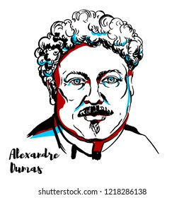 Alexandre Dumas engraved vector portrait with ink contours. Famous french writer, author of The Count of Monte Cristo & The Three Musketeers.