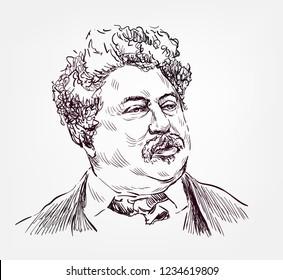 Alexandre Dumas sketch style vector portrait