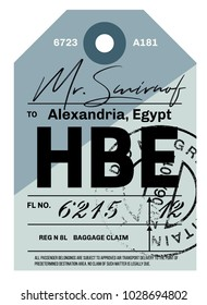 d9925aaf8c Alexandria airport luggage tag. Realistic looking tag with stamp and  information written by hand.