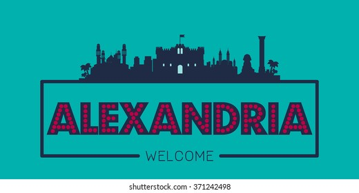 Alexandria city skyline silhouette vector design