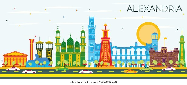 Alexandria Egypt City Skyline with Color Buildings and Blue Sky. Vector Illustration. Business Travel and Tourism Concept with Historic Architecture. Alexandria Cityscape with Landmarks.